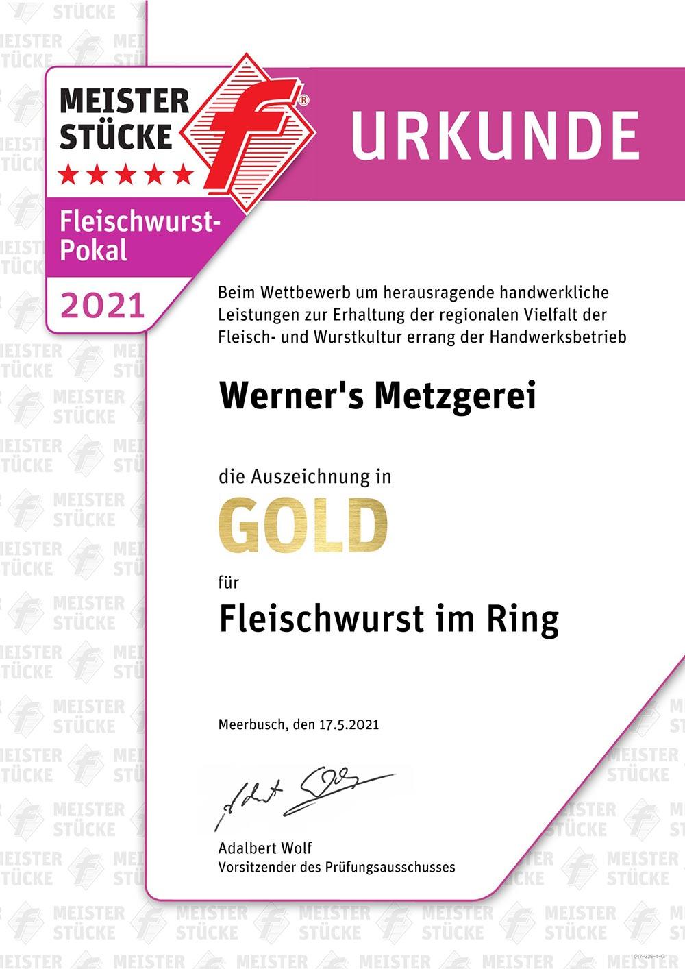 Werners Auszeichnung, Fleischwurst am Ring
